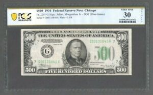 1934 $500 Federal Reserve Note - Chicago Fr. 2201-G - PCGS 30 Very Fine - S610