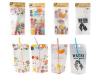 24x Drink Pouches w Straw Handheld Zipper Drink Bag & Straws 350ml Party Summer