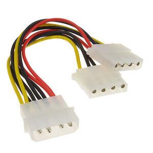 2 Way 4 pin PSU Power Splitter Cable LP4 Molex 1 to 2 CabledUp®