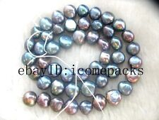 "5strands freshwater pearl baroque black 15"" beads wholesale nature discount"