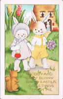 Easter Postcard ~ Dressed Rabbits Bobby & Baby Bunny See Squirrel On Path