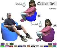 Cotton Drill Bean Bag Adult & Kids Size Bags Comes Filled with Beans.