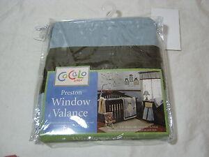"CoCaLo Preston Window Valance to fit 36"" x 48"" window  Blue/Chocolate Brown NIP"
