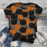 Women Short Sleeve 3D Animal Halloween Printed O-Neck Tops Tee T-Shirt Blouse Ce