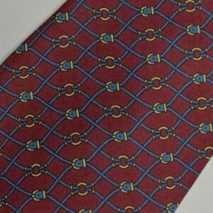 Skinny Burgundy Blue Equestrian Foulard Silk Tie