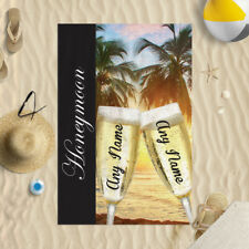 "58 x 39"" Personalised Beach Towel Honeymoon Design Microfibre Wedding Champagne"