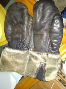 VTG Brown  Leather WOLERVINE Fur  Snowmobile Riding Mitten ZIP Gloves LARGE