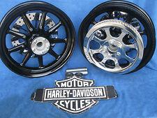 Harley Davidson Heritage ALL Black 9 Spoke Wheels Package Deal Easy Maintenance