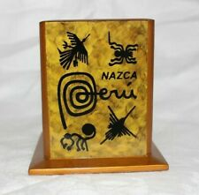 Peruvian Handmade Painted Glass Wood Decorative Pencil Holder New (1.2)
