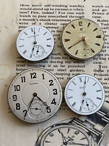ANTIQUE POCKET WATCH PARTS Waltham Elgin Cyma Lot Of 4 Working Condition AS IS