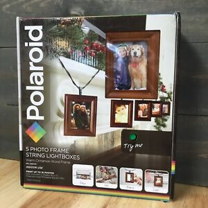 NEW Polaroid Photo Frame String LED Lightboxes Warm Cinnamon Wood