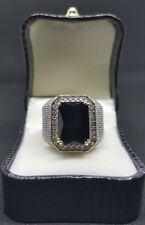 Mens Iced Out Diamond 18 CT Gold Onyx Black Ruby Ring SIZE 9