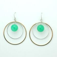 14k Gold plated chandelier dangle green ball enamel earrings