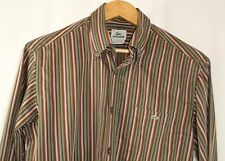 Lacoste Mens Long Sleeve Button Front Shirt Brown Purple Green Stripe EU 40 US M