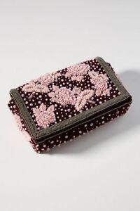 NEW Anthropologie Glam Beaded Velvet  Embellished Clutch Crossbody Shoulder Bag