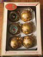 Santas World Glass Gold Ornaments