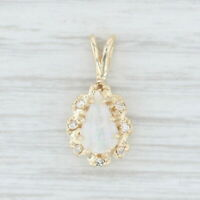 Opal Diamond Halo Teardrop Pendant 14k Yellow Gold Pear Solitaire
