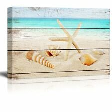 "Canvas Prints Wall Art - Starfish and Seashells on the Beach - 24"" x 36"""