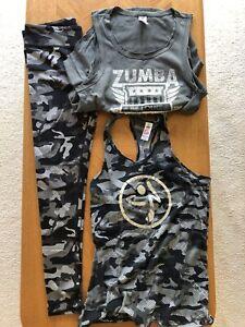 Three Piece Zumba Gray Camoflage Pattern Bra M, Tank S, Leggings L EUC