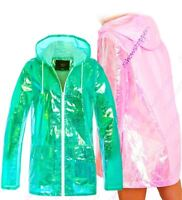 Womens Holographic Rain Mac Waterproof Raincoat Ladies Pink Jacket Size 8 - 16