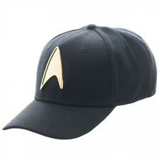 STAR TREK METAL GOLD BADGE FLEX FIT HAT CAP STRETCH BLACK CURVED BILL ONE SIZE