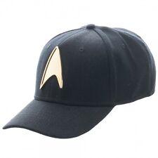 STAR TREK METAL GOLD BADGE FLEX FIT HAT CAP STRETCH BLACK CURVED BILL ONE SIZE