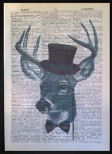Vintage Stag Head Print Upcycled Dictionary Page Wall Art Picture Deer Animal