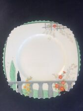 Burleigh Ware Riviera 1932 Art Deco Handpainted Pottery 8 inch Side Plate