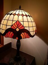 Tall Tiffany Style Stained Glass Table Lamp Orange,Brown, White Glass