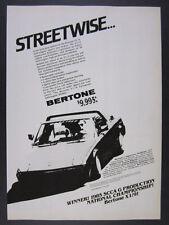 1986 Bertone X1/9 X19 car art vintage print Ad