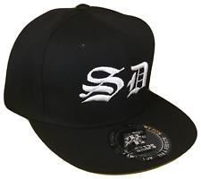 SD San Diego Old English Flat Bill Snapback Baseball Cap Caps Hat Black Padres