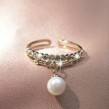 18K Yellow Gold made with Swarovski crystal open band pearl ring free size 6 - 9