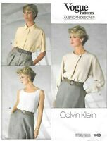 Vogue Sewing Pattern 1860 by Calvin Klein, 3 different Blouses Shirts, Size 14