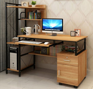 Prime Large Multi-function Computer Desk Workstation with Shelves & Cabinet