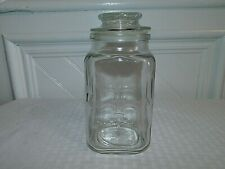 Vintage Anchor Hocking Fleur De Lis Clear Glass Apothecary Jar Canister