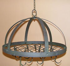 Wrought Iron Kitchen Utensil Holder Rustic Country Hanging Pot Rack Rondo RS108