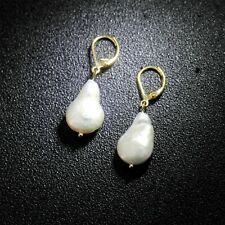 Boucles d'oreilles Dormeuse Perle Culture Blanc Baroque Goutte Plaque Or 14K TZ4