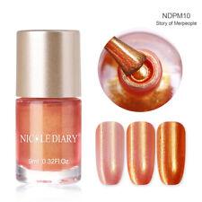 9ml NICOLE DIARY Nail Polish Water Based Pearl Orange Nail Art Varnish Polish