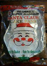 VINTAGE 60's SantaClaus Set/2 Reusable Super Aluminum CakePans Original Wrapping