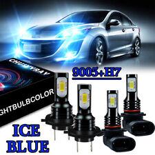 9005+H7 ICE Blue 8000K COB LED Headlight Hi//Low Beam Bulb For 2006-2010 Mazda 5