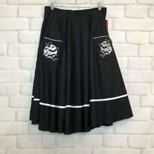 NWT Hell Bunny Full Moon Bat Embroidered Swing Skirt Size L