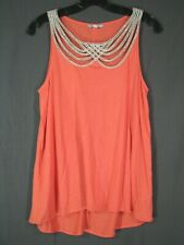 LEIFNOTES Anthropologie CORAL/SALMON JERSEY KNIT TANK TOP Braided Neckline XS