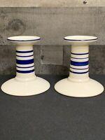 Ralph Lauren Blue & Cream Farmstead Ticking Candlesticks Taper Ironstone Pair