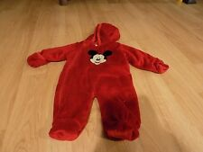 Infant Size 3-6 Months Disney Baby Mickey Mouse Red Hooded Pram Snowsuit EUC