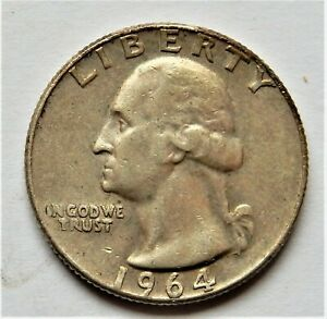 1964 D UNC WASHINTON QUARTER 90% SILVER FROM BROKEN UP COLLECTION TONING