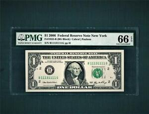 """$1.00 2006 Federal Reserve """"Fancy 7-ACES & ALMOST SOLID#""""~PMG-66EPQ"""