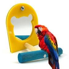 KQ_ Mirror Pet Bird Parrot Toy Perches Paw Grinding Wood Standing Bar Rack Glitz