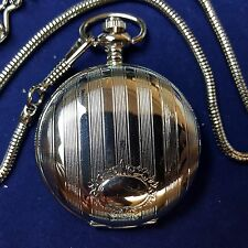 "SILVER TONE STRIPED POCKET WATCH WITH 12"" SNAKE CHAIN AND CLIP"