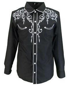 Mazeys Mens Black Western Cowboy Embroidered Vintage/retro Shirts