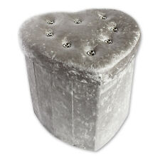 Deluxe Silver Crushed Velvet Diamante Footstool Ottoman Storage Box Heart Stool